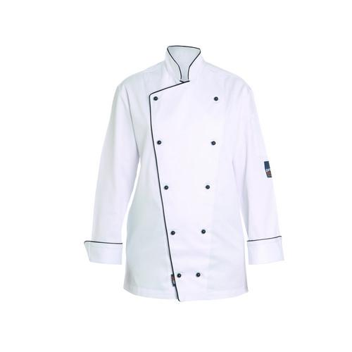 CHEF JACKET EXECUTIVE P/C WHITE W/BLK PIPING LARGE L/SL PROCHEF