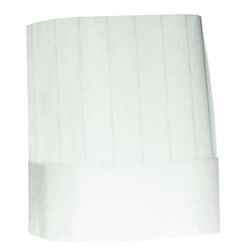 CHEF HAT FLAT TOP NON WOVEN DISPOSABLE 230MM HIGH AUSSIE CHEF (PK10)