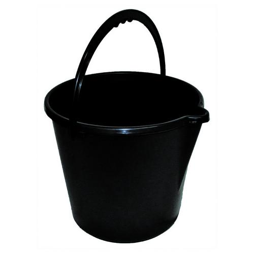 BUCKET ROUND SUPER TOUGH 9L BLACK PLASTIC EDCO
