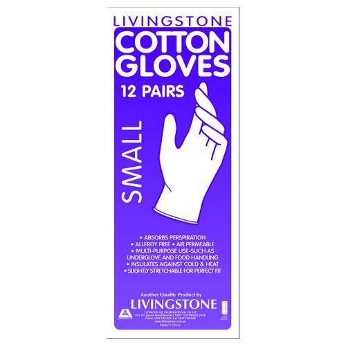 GLOVE COTTON INTERLOCK SMALL LIVINGSTONE (PK12)
