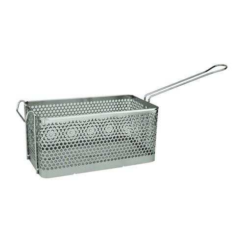 FRY BASKET CHROME RECT 375X138X150MM PUNCHED METAL