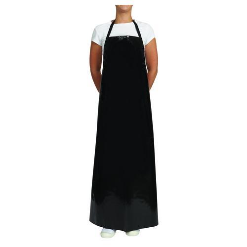 APRON BIB PVC BLACK 890X1220MM LONG WATERPROOF AUSSIE CHEF