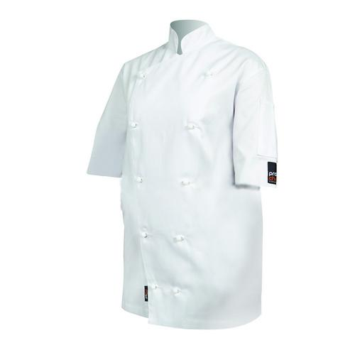 CHEF JACKET TRADITIONAL P/C  WHITE LARGE S/SL PROCHEF