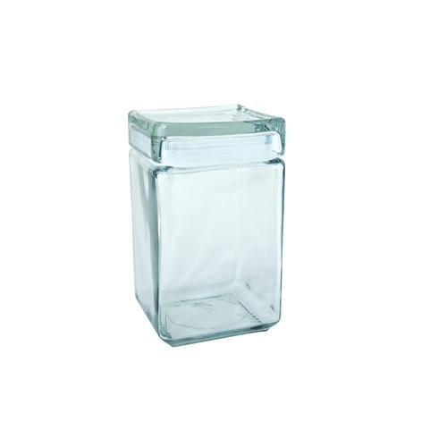 JAR STORAGE GLASS SQUARE 1.89L STACKABLE ANCHOR
