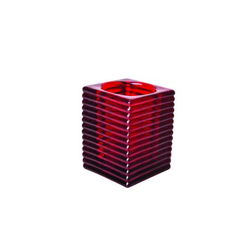 TABLE LAMP BASE GLASS SQUARE RED KELLY
