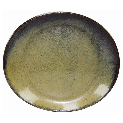 PLATE OVAL 295X250MM REACTIVE BROWN ARTISTICA