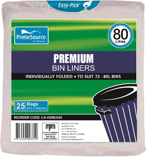 GARBAGE BAG 80L PREMIUM NATURAL 810X900MM (CT250)