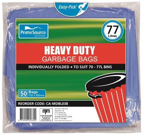GARBAGE BAG 72L HEAVY DUTY BLUE 750X900MM (CT250)