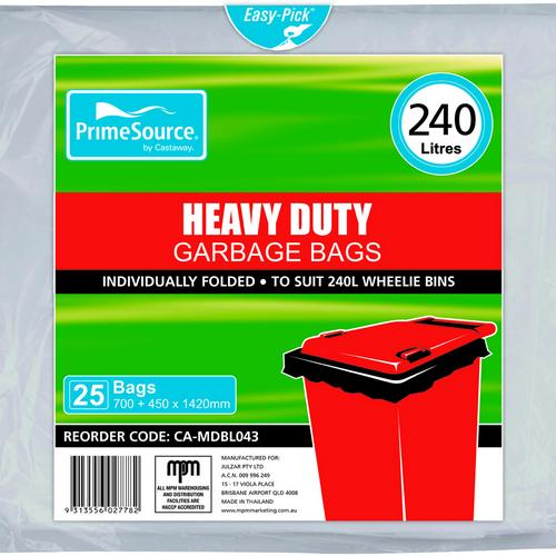 GARBAGE BAG 240L HEAVY DUTY NATURAL 1150X1450MM (PK25)