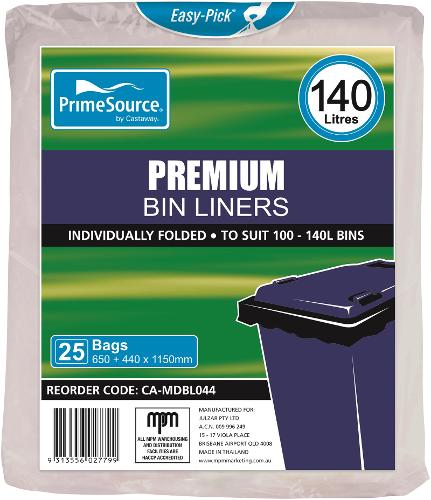 GARBAGE BAG 140L PREMIUM NATURAL 990X1150MM (CT200)
