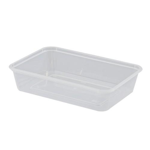 CONTAINER RECT PLASTIC TAKEAWAY 500ML (PK50)