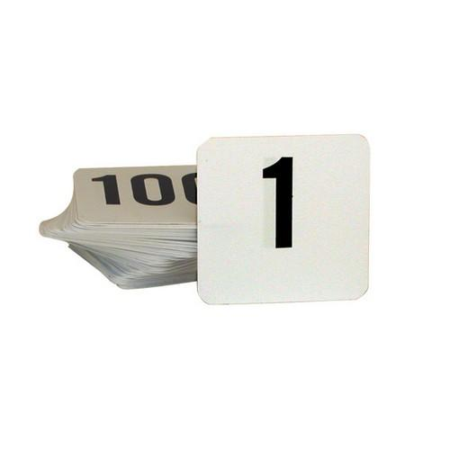 TABLE NUMBER SET 1-100 BLACK ON WHITE 50X50MM