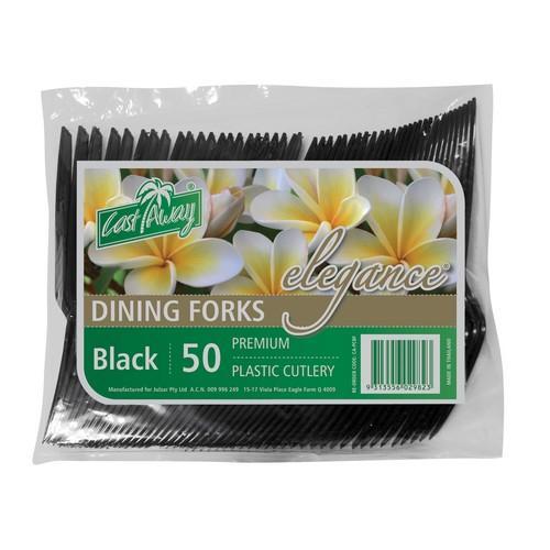 FORK BLACK PLASTIC ELEGANCE (PK50)