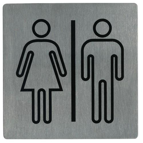 SIGN - RESTROOMS SYMBOL S/S 130X130MM