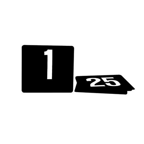 TABLE NUMBER SET 1-25 WHITE ON BLACK 105X95MM