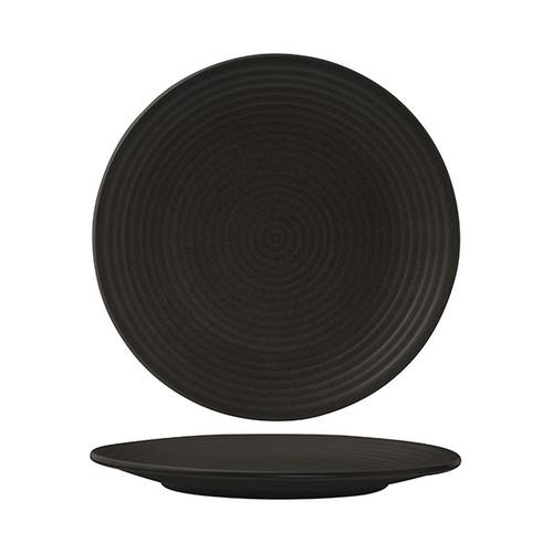 PLATE ROUND COUPE RIBBED 265MM CHARCOAL ZUMA