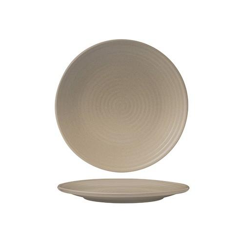 PLATE ROUND COUPE RIBBED 210MM SAND ZUMA