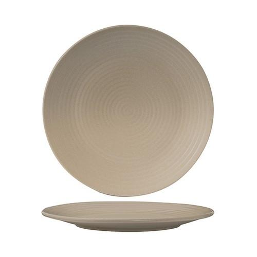 PLATE ROUND COUPE RIBBED 265MM SAND ZUMA