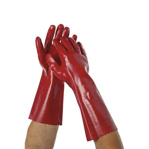 GLOVE PVC DIPPED RED LIQUID RESISTANT 400MM OATES