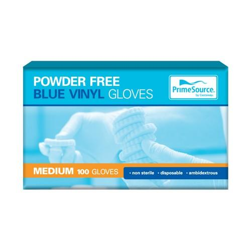 GLOVE VINYL MEDIUM BLUE POWDER FREE (PK100)