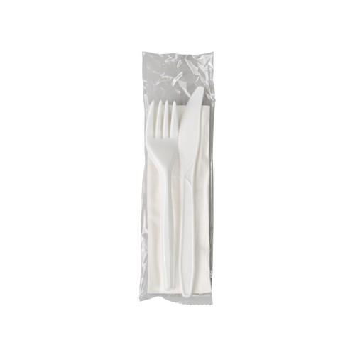 CUTLERY PACK - PLASTIC KNIFE / FORK & NAPKIN