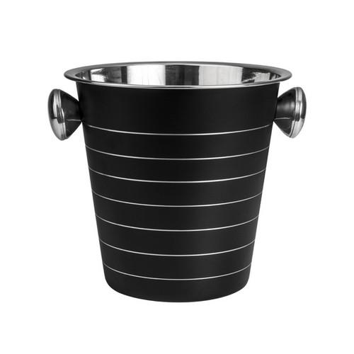 WINE BUCKET S/S W/KNOBS BLACK RIBBED 225X210MM MODA