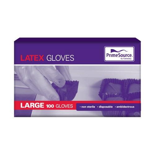 GLOVE LATEX LARGE NATURAL POWDERED (PK100)