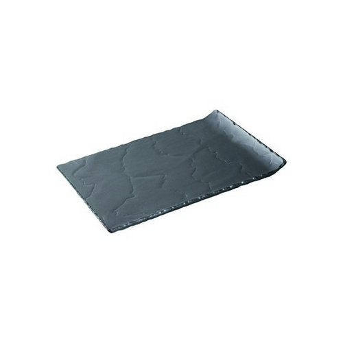 PLATE RECT W/RAISED END 325X200MM BASALT REVOL