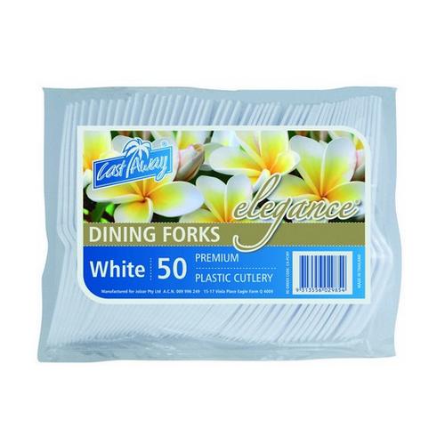 FORK WHITE PLASTIC ELEGANCE (PK50)