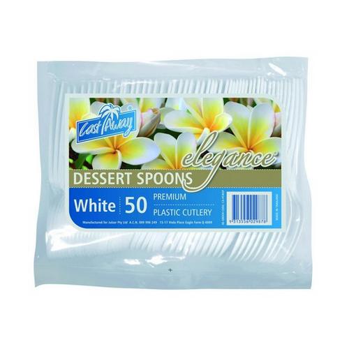 SPOON WHITE PLASTIC ELEGANCE (PK50)