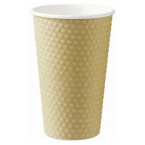 CUP PAPER HOT DRINK DIMPLE BROWN 460ML (PK20)