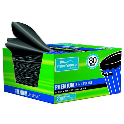 GARBAGE BAG 80L PREMIUM BLACK 810X960MM EASY PICK (CT200)