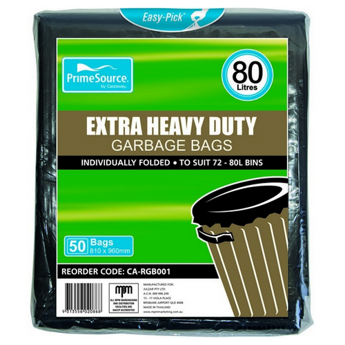 GARBAGE BAG 80L EXTRA HEAVY DUTY BLACK 810X960MM (PK50)