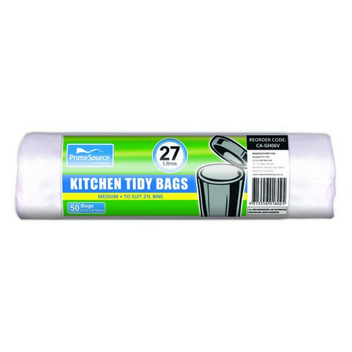 KITCHEN TIDY BAG 27L WHITE ROLLS 510X610MM (CT1000)