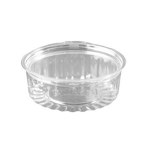 FOOD BOWL PLASTIC CLEAR HINGED FLAT LID 227ML (CT250)