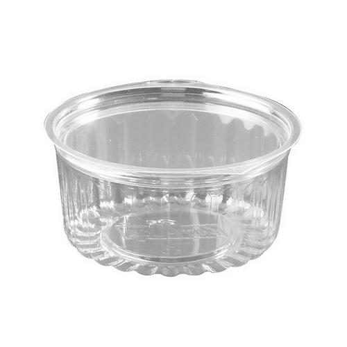 FOOD BOWL PLASTIC CLEAR HINGED FLAT LID 341ML (CT250)