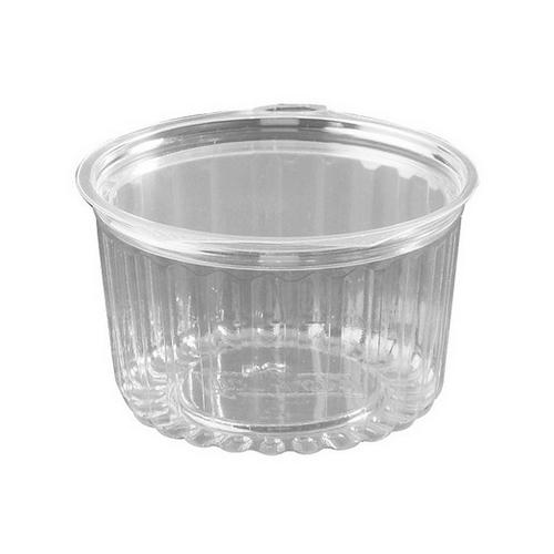 FOOD BOWL PLASTIC CLEAR HINGED FLAT LID 455ML (CT250)