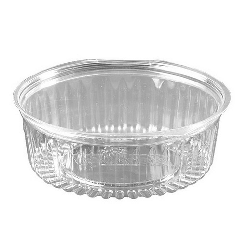 FOOD BOWL PLASTIC CLEAR HINGED FLAT LID 682ML (CT150)