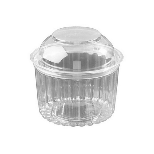 FOOD BOWL PLASTIC CLEAR HINGED DOME LID 455ML (CT250)