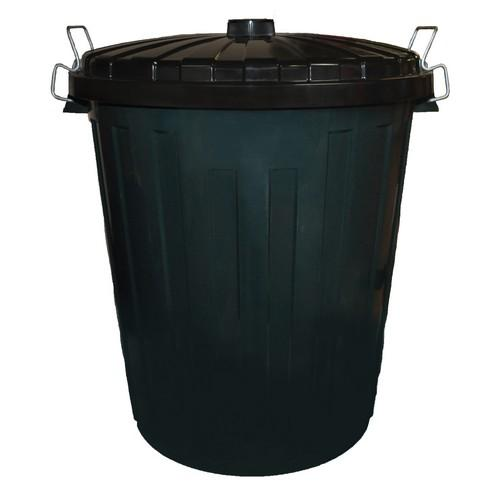 BIN GARBAGE 55L PLASTIC GREEN W/LID EDCO