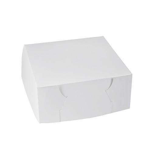 CAKE BOX SQUARE BOARD WHITE 250X250X100MM (PK100)