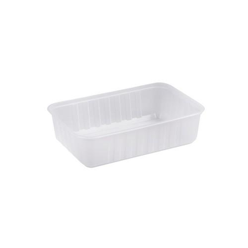 CONTAINER RECT PLASTIC TAKEAWAY RIBBED 750ML GENFAC (CT500)