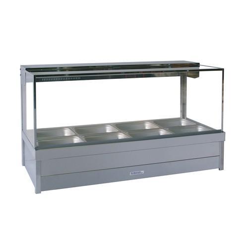 HOT FOOD DISPLAY BAR SQUARE GLASS 2X4 PAN & R/D ROBAND