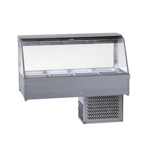 COLD FOOD DISPLAY BAR CURVED GLASS 2X4 PANS & R/D ROBAND