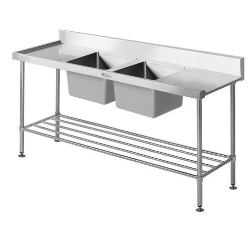 DISHWASHER INLET BENCH S/S LEFT DOUBLE SINK 1650X 600X 900MM SIMPLY STNLESS