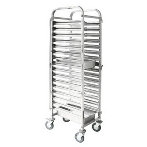 TROLLEY GASTRONORM S/S TALL 16 X GN 1/1 PAN 380X550X1735MM