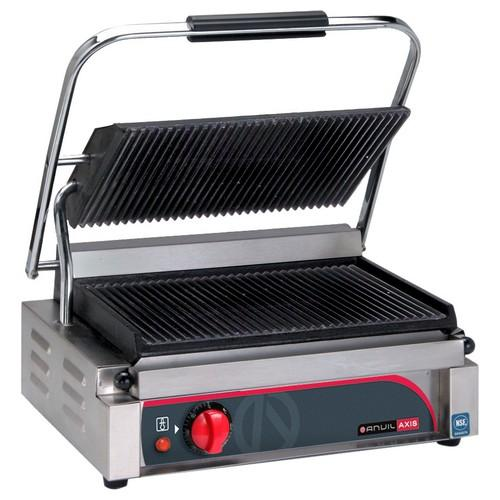 PANINI PRESS SINGLE FLAT/FLAT PLATE 2200W 10AMP ANVIL AXIS