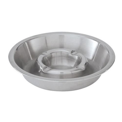 ASHTRAY S/S ROUND 135MM DOUBLE WELL DEEP