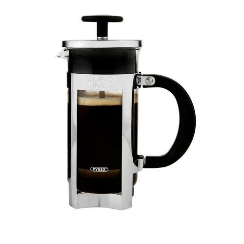COFFEE PLUNGER 3 CUP 350ML GLASS S/S EUROLINE