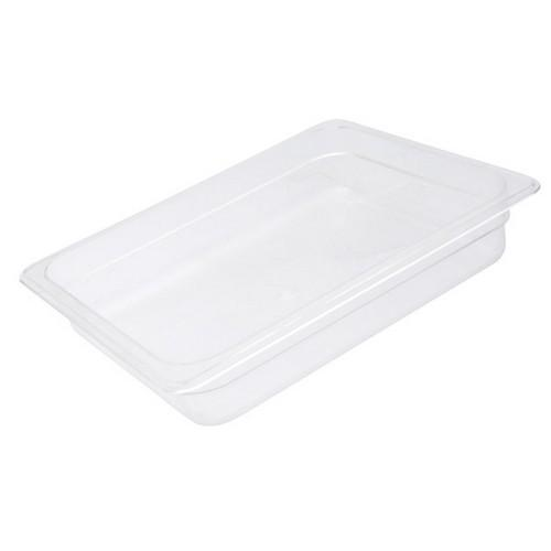 FOOD PAN POLY CLEAR 1/2 SIZE 100X265X325MM